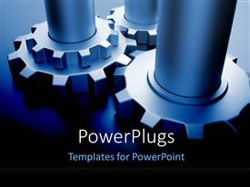 PowerPoint template displaying three gears on a dark background