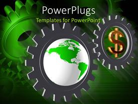 PowerPoint template displaying three gears, one with a green earth globe and then dollar sign