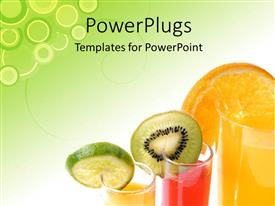 PowerPoint template displaying three glass cups with drinks and fruits on them