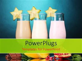PowerPoint template displaying three glasses of milk shake with fruits on blue background