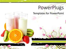 PowerPlugs: PowerPoint template with three glasses with yogurts surrounded by fresh fruits, healthy eating concept