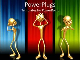 PowerPlugs: PowerPoint template with three gold colored depiction of human figures on a colorful background