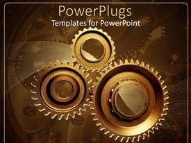 PowerPoint template displaying three gold colored interlocking gears on a brown background