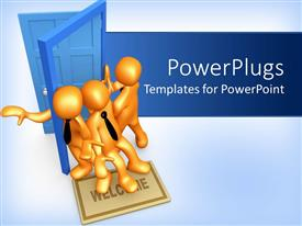 PowerPlugs: PowerPoint template with three gold figures in black neck ties trying to pass through blue doorway at same time