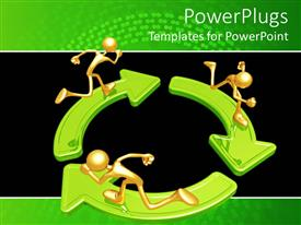 PowerPlugs: PowerPoint template with three gold figures running on green arrows arranged in circle