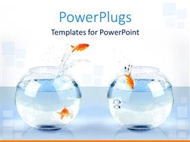 PowerPlugs: PowerPoint template with three gold fish jump from one bowl to another