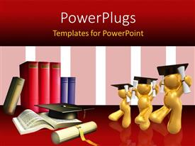 PowerPlugs: PowerPoint template with three gold plated 3D graduates with book pile and academic award