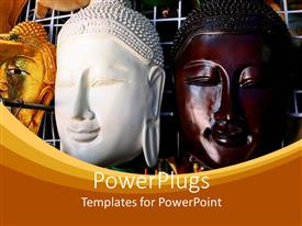 PowerPoint template displaying three gold, white and brown colored face masks of Buddha