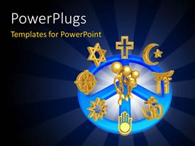 PowerPoint template displaying three golden 3D characters with lots religious symbols around