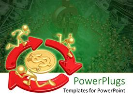 PowerPoint template displaying three golden characters running on arrows around a dollar sign