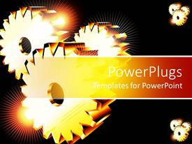 PowerPlugs: PowerPoint template with three golden gears with spark of light glowing on black background