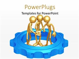 PowerPlugs: PowerPoint template with three golden human character standing inside  blue colored gear