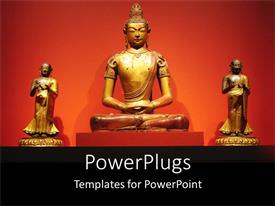 PowerPoint template displaying three golden statues of Buddha over an orange background