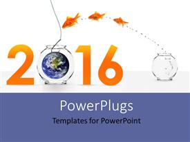 PowerPlugs: PowerPoint template with three goldfishes jumping into new year with earth as bait