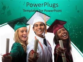 PowerPlugs: PowerPoint template with three graduates being happy on their graduation