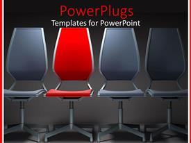 PowerPlugs: PowerPoint template with three gray chairs with red chair in the middle with gray background
