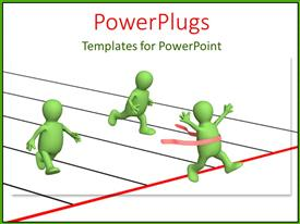 PowerPlugs: PowerPoint template with three green 3D characters running across a finish line