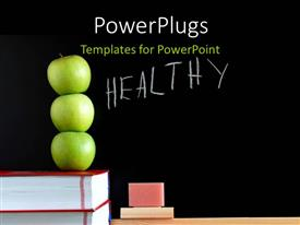 PowerPoint template displaying three green apples on book pile with text HEALTHY on chalkboard