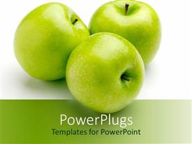 PowerPoint template displaying three green apples fruits from tree nature on white background