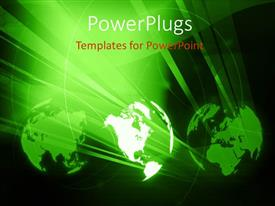 PowerPlugs: PowerPoint template with three green colored globes shinning brightly on a balck background