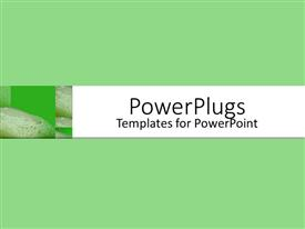 PowerPoint template displaying three green soaps with greenish background