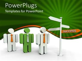 PowerPlugs: PowerPoint template with three green and white 3D human characters beside a white signpost
