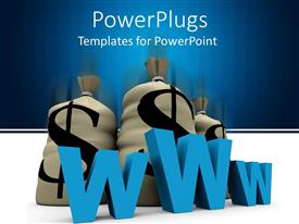 PowerPlugs: PowerPoint template with three grey bags with a dollar symbol and a 'WWW' text