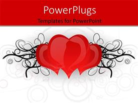 PowerPlugs: PowerPoint template with three heart with designs on a white colored background