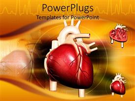 PowerPlugs: PowerPoint template with three hearts over an orange background with other images
