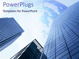 PowerPlugs: PowerPoint template with three high blue buildings with clear blue map  sky