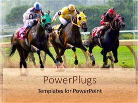PowerPoint template displaying three horses racing in competition in green field as background