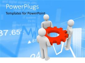 PowerPoint template displaying three Human characters holding cogwheel in red over a finance background