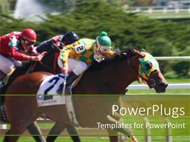 PowerPoint template displaying three humans on horses racing on an open field