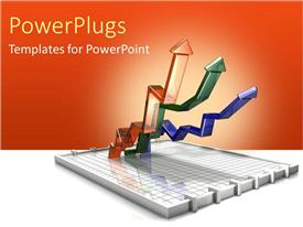PowerPlugs: PowerPoint template with three increasing graphs charts finances red background income salary profit