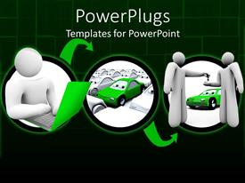 PowerPlugs: PowerPoint template with three interconnected depictions of 3D figure searching online on a laptop, green car amongst white cars, figure seller handing the key cars to buyer in front of car