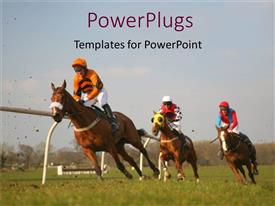 PowerPoint template displaying three jockeys riding race horses around track