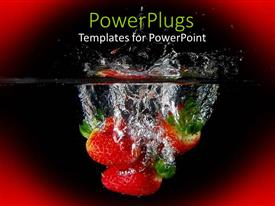 PowerPlugs: PowerPoint template with three juicy strawberries in water on a red background