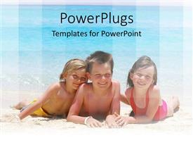 PowerPoint template displaying three kids lying on a beach smiling happily and playing