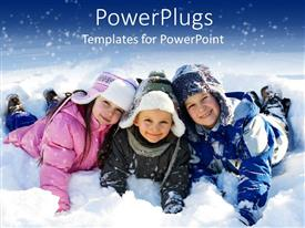 PowerPoint template displaying three kids lying down on snow