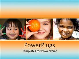 PowerPoint template displaying three kids with orange and bluish background