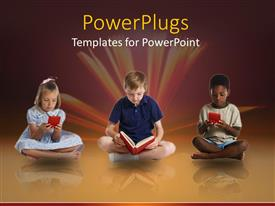 PowerPlugs: PowerPoint template with three kids sitting cross legged reading and playing video game