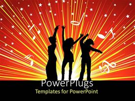 PowerPlugs: PowerPoint template with three ladies dancing and partying on an orange background