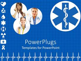 PowerPlugs: PowerPoint template with three lady doctors, different signs of medical background and heart beat pattern on blue background