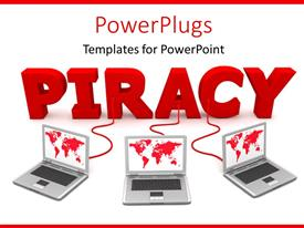 PowerPoint template displaying three laptops connected to laptops with red cables depicting word privacy on white color
