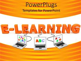 PowerPoint template displaying three laptops with numbers and letters plugged into e-learning