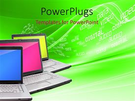 PowerPlugs: PowerPoint template with three laptops with solid color background over digital surface