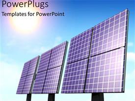PowerPlugs: PowerPoint template with three large black solar panels on a clear blue sky