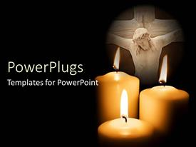 PowerPlugs: PowerPoint template with three large crosses with an image of Jesus on the background