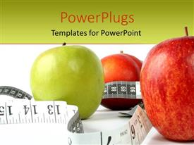PowerPoint template displaying three large green and red apples with a measuring tape