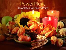 PowerPlugs: PowerPoint template with three lighted candles with table prepared for thanksgiving